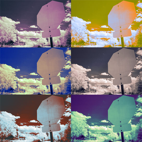 infrared scene stop sign multicolor