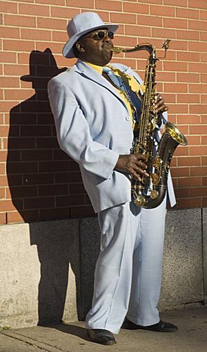 Andrew Tynes saxaphonist blue suit Halifax Nova Scotia