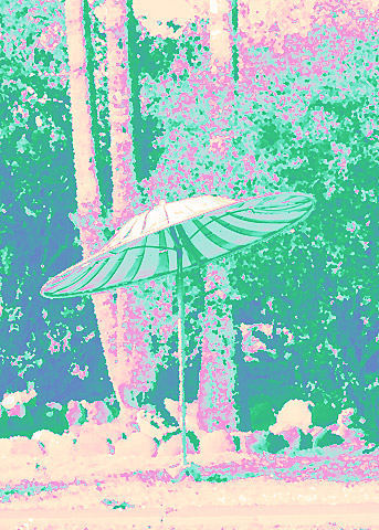 umbrella and palm trees pink aqua teal green relaxing alt process remix