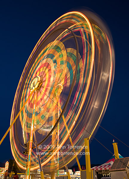 carnival ferris wheel lit up against midnight blue night sky