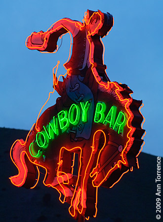 Cowboy Bar, Jackson Wyoming vintage neon sign