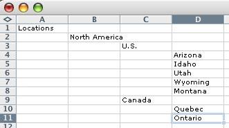format of excel spreadsheet to import Adobe Lightroom keywords