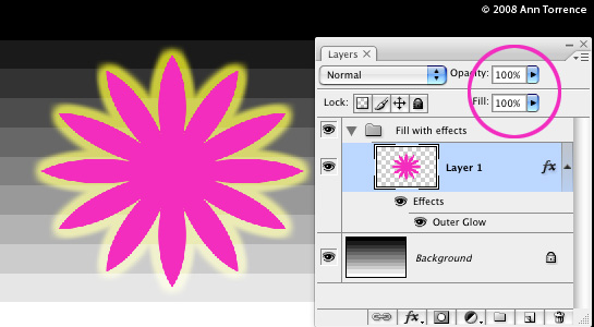 Photoshop tutorial screenshot, difference between regular opacity fill opacity