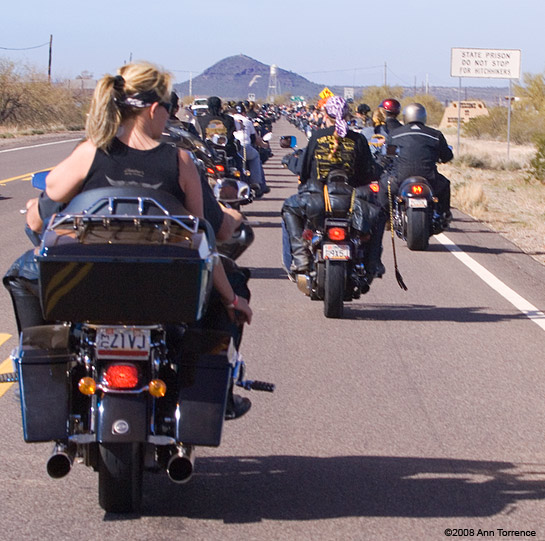 motorcycle on road Hell's Angels Prison Run - Florence, Arizona