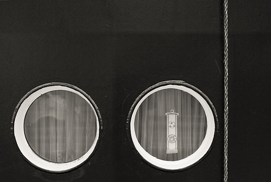 Portholes soccer fan black and white B&W