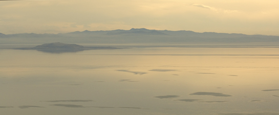 aerial great salt lake antelope island sunset utah