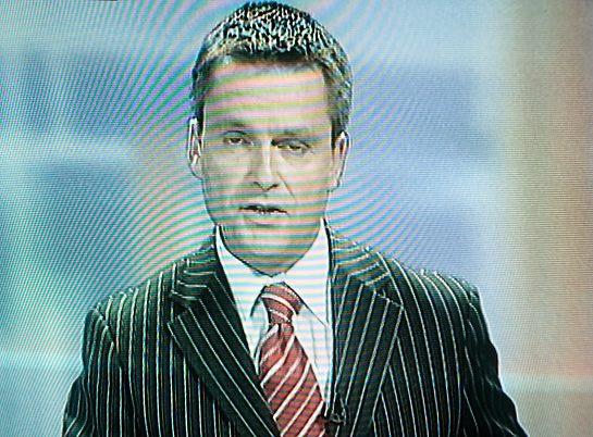 Irish television tv announcer presenter bad suit stripes
