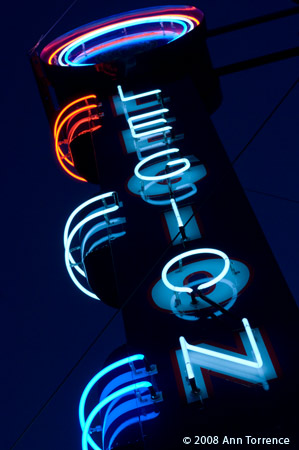 Restored neon sign American Legion Hall, Choteau Montana