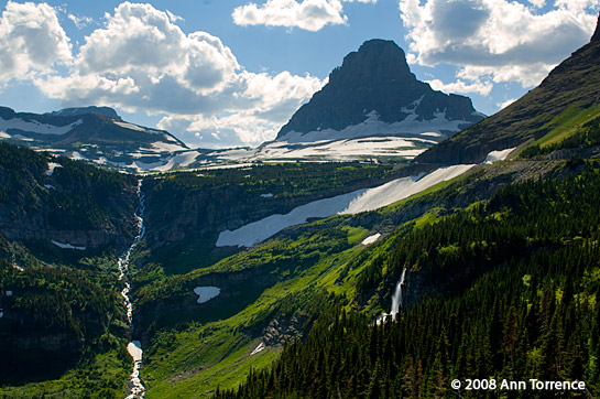 logan pass glacier national park waterfall