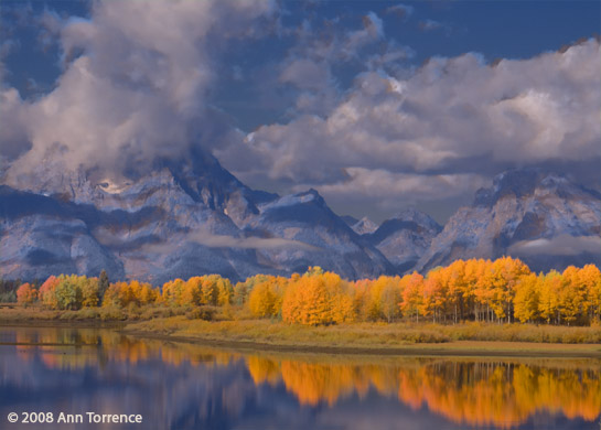 aspens fall colors aspencade Clouds on Mt. Moran at the Oxbow overlook, Grand Teton National Park Tetons IR infrared colorized remix
