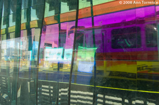 Arena Station glass rainbow TRAX UTA train light rail