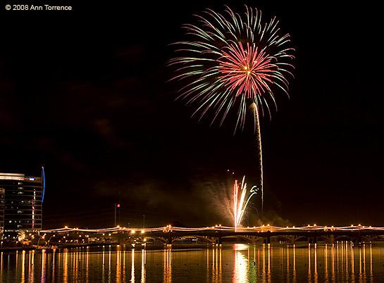 New Years Fireworks at Tempe Town Lake, Arizona