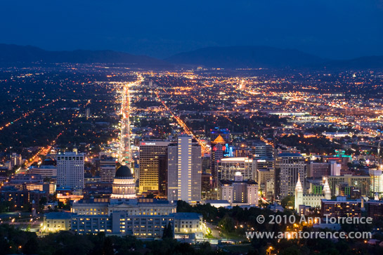 State Street Utah State Capitol Salt Lake City at night