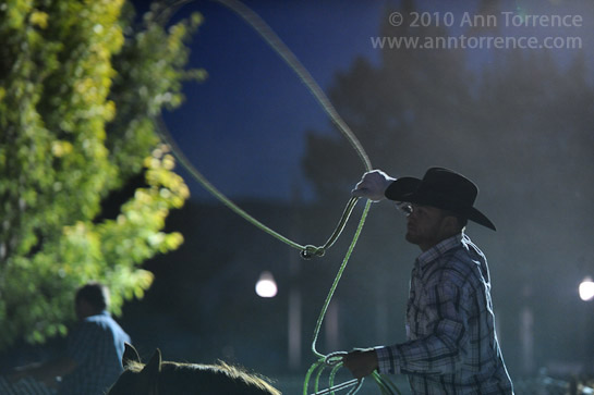 cowboy lariat rodeo behind the scenes chute night