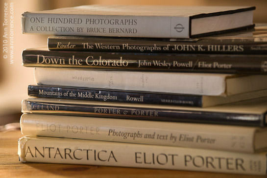 stack of photography books