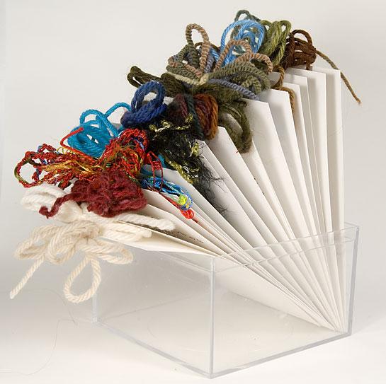 organized yarn samples 3x5 index card lofi