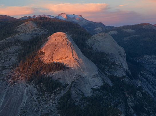 north dome Yosemite Valley National Park sunset color