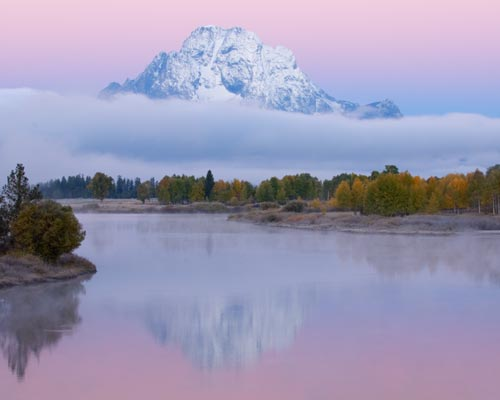 Mt Moran pink sunrise Grand Teton National Park