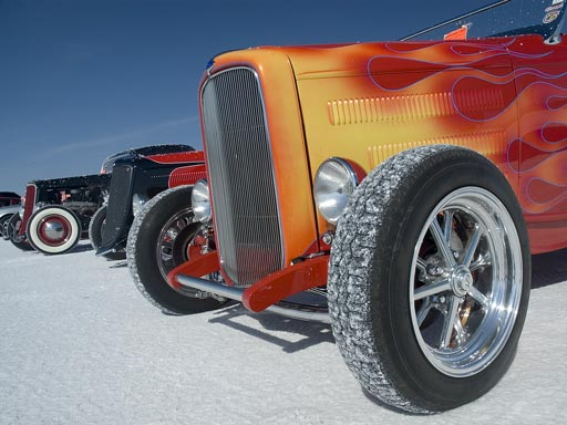 line of classic cars at Bonneville Speedway