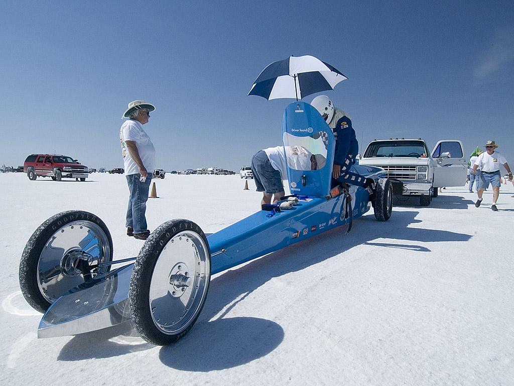 driver entering car at Bonneville Speedway