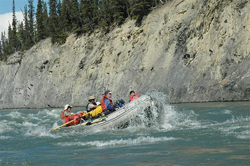raft in rapid on Nahanni River