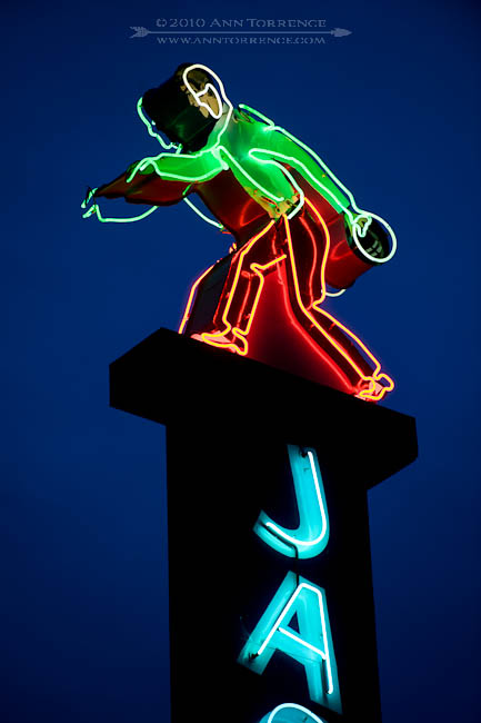 Detail of a vintage neon sign at a bowling alley