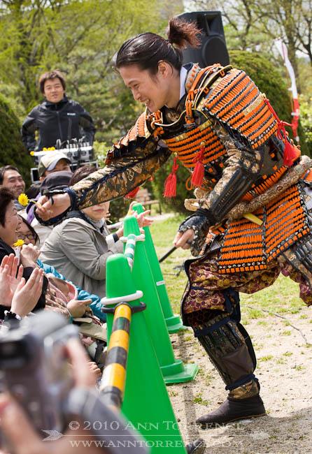 Troupe member of Omotenashi Busho Tai, cultural ambassadors for Nagoya, reenacts important events in Japanese history