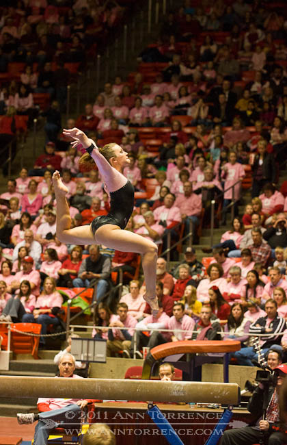 Stephanie McAllister, balance beam. University of Utah vs Arizona State University