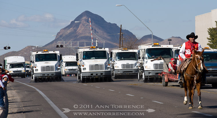 Street-sweeper brigade cleaning up after the Tucson Rodeo parade