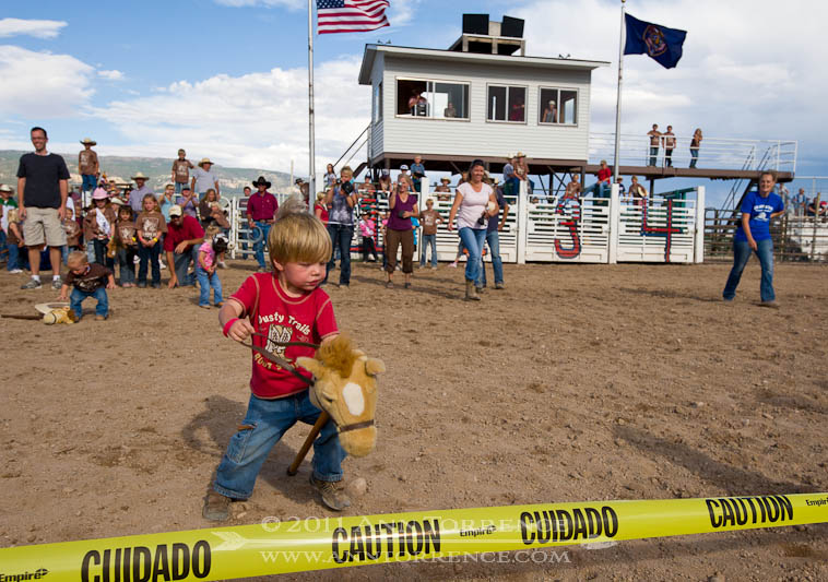 Stick-horse race finish line, 2011 Wayne County Fair, Loa, Utah