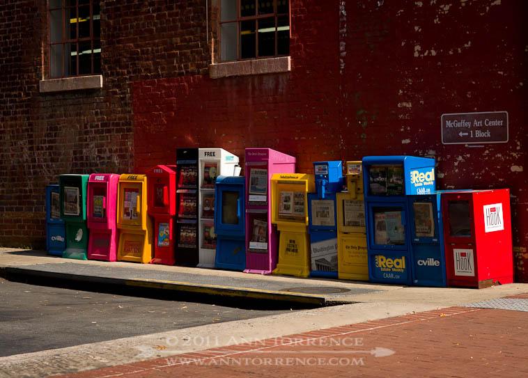 Free magazine boxes, Charlottesville, VA