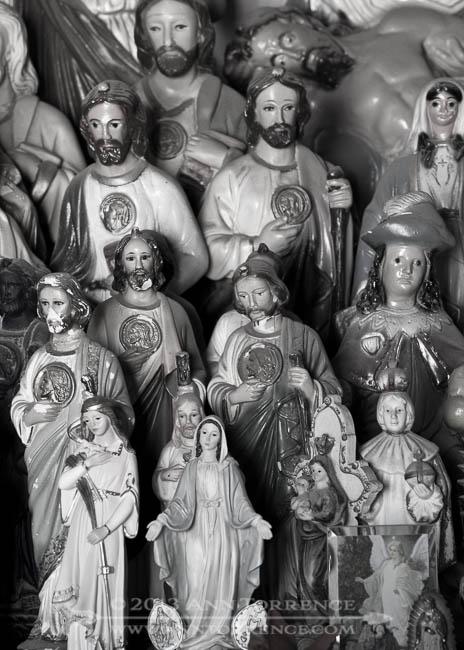 Mostly Josephs, religious statues, San Xavier del Bac Mission chapel, Tucson, AZ