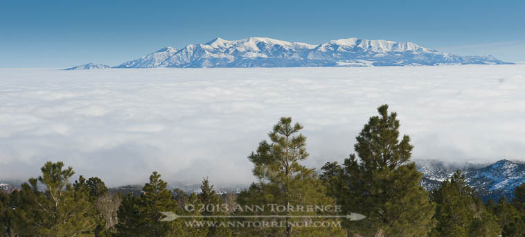 Henry Mountains rising out of a fog that stretched to the Utah-Colorado border, viewed from Boulder Mountain