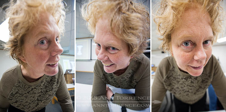 Demonstration of wide-angle lens expansion distortion. Don't do this to people you love. (16 mm on a full frame Nikon)