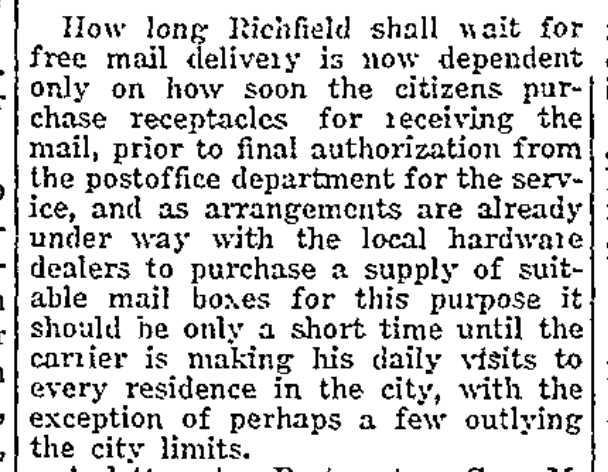 Home delivery of mail to reach most Richfield homes by 1927, but you'll have to buy a proper mailbox