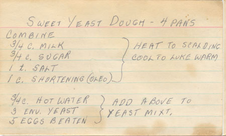 Recipe for Philadelphia rolls in my grandmother's hand-writing, a Christmas family tradition.