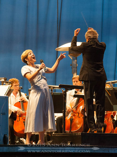 Soprano Celena Shafer performs Voices of Spring while Music Director Thierry Fischer conducts the Salt Lake Symphony during its Mighty 5 Tour on Tuesday August 12, 2014 in Teasdale, Utah.