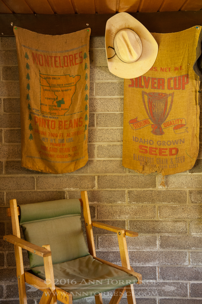 Gunny sacks hung in a cowboy cabin at Range Creek Canyon