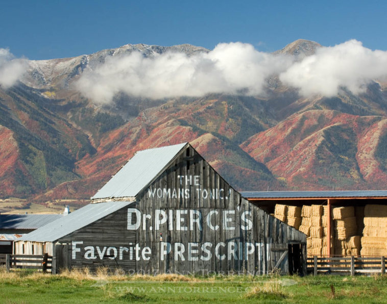 The Woman's Tonic Dr. Pierce's Favorite Prescription sign on a barn in Logan UT
