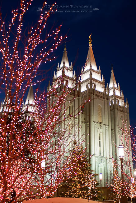 Christmas Lights at Mormon Temple Square, LDS Temple in Salt Lake City