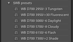 Folder of white balance presets in LR for my D700